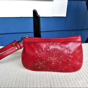 Fossil Red Leather Wristlet